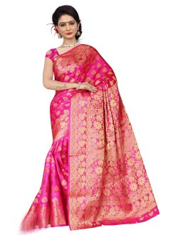 Wedding Wear Pink Silk Saree  - 19209