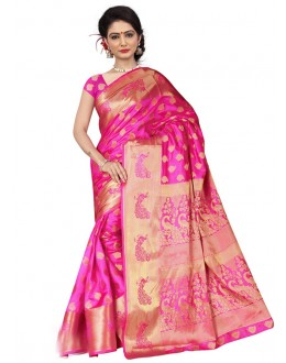 Party Wear Pink Silk Printed Saree  - 19211