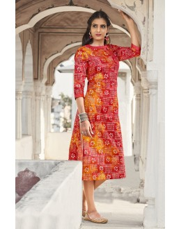Ethnic Wear Readymade Red & Yellow Kurti - 19214
