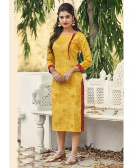 Festival Wear Readymade Yellow Cotton Kurti - 19216