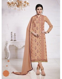 Office Wear Orange Glace Cotton Salwar Suit  - 19278