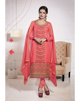 Festival Wear Peach Glace Cotton Salwar Suit  - 19280