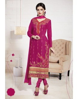 Festival Wear Pink Glace Cotton Salwar Suit  - 19282
