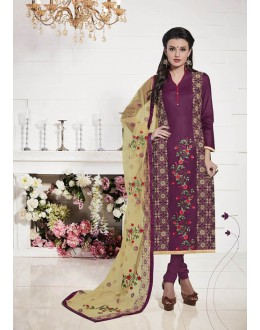 Magenta Colour Glace Cotton Salwar Suit  - 19286
