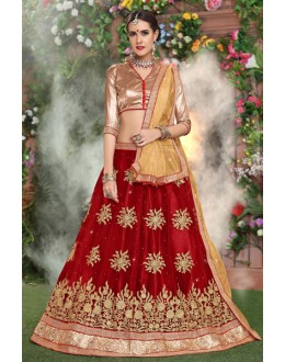 Ethnic Wear Red Net Lehenga Choli - 19287