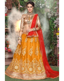 Ethnic Wear Yellow Net Lehenga Choli - 19288