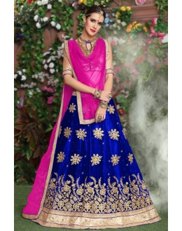 Traditional Blue Net Lehenga Choli - 19293