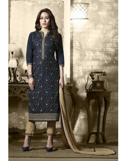 Office Wear Blue Cotton Salwar Suit - 19304