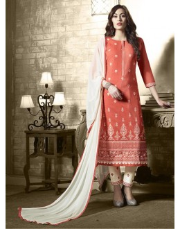 Festival Wear Orange Cotton Salwar Suit - 19305