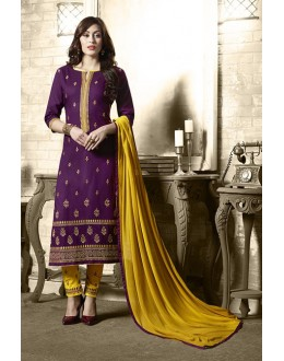 Ethnic Wear Purple Cotton Salwar Suit - 19306