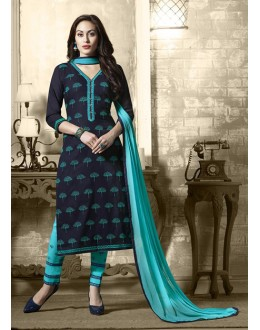 Office Wear Blue Cotton Salwar Suit - 19307