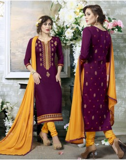 Office Wear Purple Cotton Salwar Suit - 19309