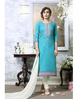 Office Wear Sky Blue Cotton Salwar Suit - 19310