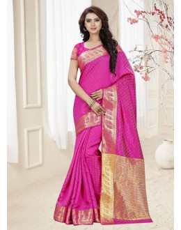 Party Wear Pink Silk Printed Saree  - 19312