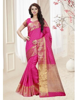 Ethnic Wear Pink Silk Printed Saree  - 19313