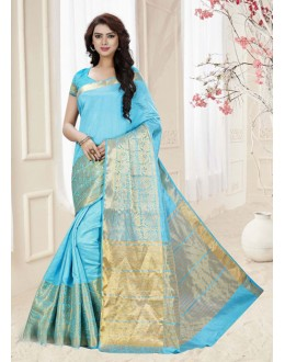 Sky Blue Colour Silk Printed Saree  - 19314