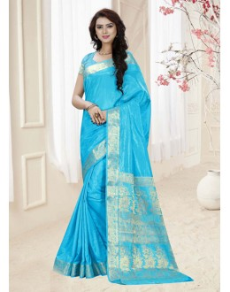 Silk Sky Blue Colour Printed Saree  - 19316