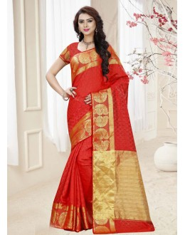Casual Wear Red Silk Printed Saree  - 19317