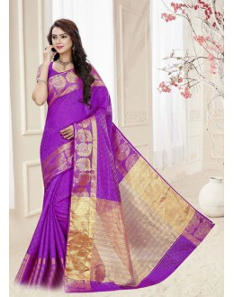 Purple Colour Silk Printed Saree  - 19319