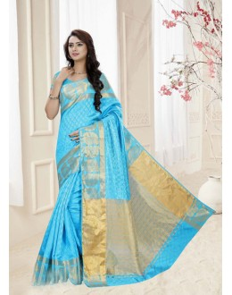 Festival Wear Sky Blue Silk Printed Saree  - 19320