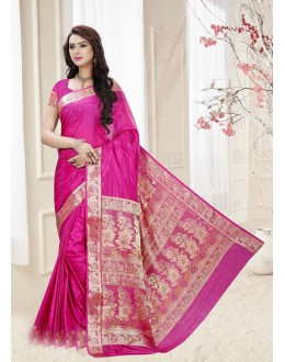 Festival Wear Pink Silk Printed Saree  - 19321