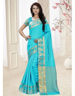 Party Wear Sky Blue Silk Printed Saree  - 19322
