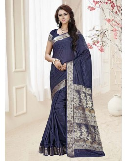 Ethnic Wear Navy Blue Silk Printed Saree  - 19323