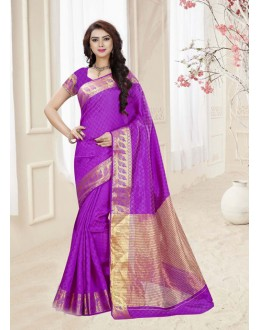 Violet Colour Silk Printed Saree  - 19326