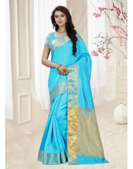 Sky Blue Colour Silk Printed Saree  - 19327
