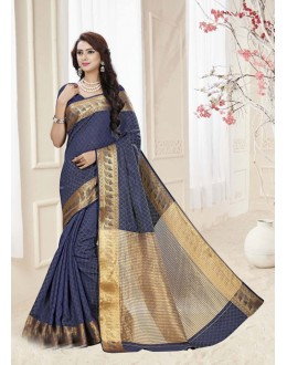 Party Wear Navy Blue Silk Printed Saree  - 19330
