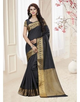 Party Wear Black Silk Printed Saree  - 19331