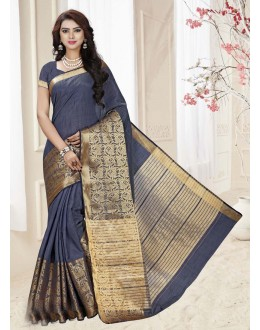 Ethnic Wear Grey Silk Printed Saree  - 19332