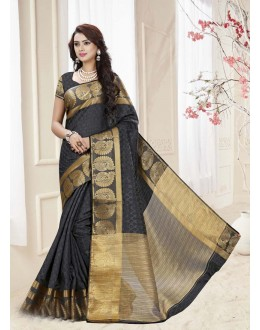 Party Wear Black Silk Printed Saree  - 19333