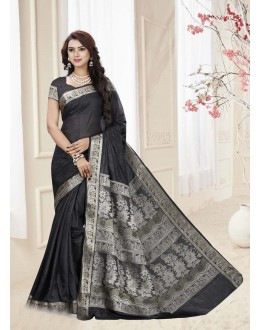 Traditional Black Silk Printed Saree  - 19335