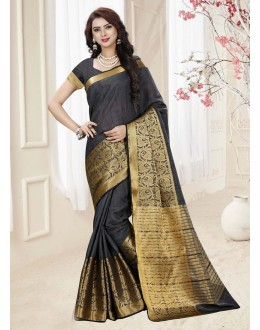 Ethnic Wear Black Silk Printed Saree  - 19336