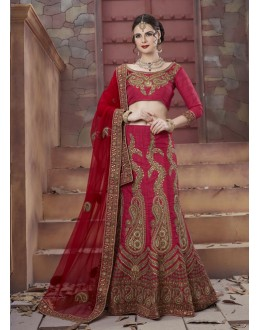 Wedding Wear Red Tourky Silk Lehenga Choli - 19496