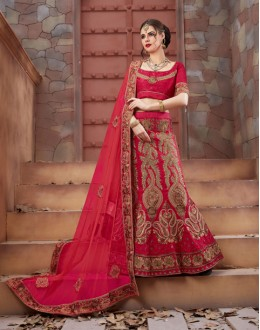 Wedding Wear Gajri Tourky Silk Lehenga Choli - 19498