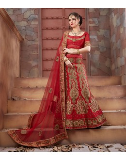 Bridal Wear Red Tourky Silk Lehenga Choli - 19499