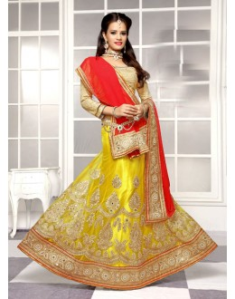 Festival Wear Yellow Viscose Lehenga Choli - 19508