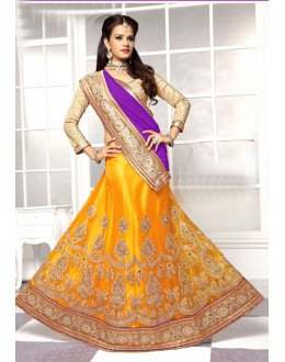Wedding Wear Yellow Viscose Lehenga Choli - 19509