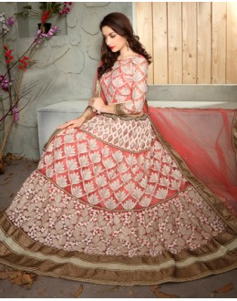 Wedding Wear Multi-Colour Net Lehenga Choli - 19510