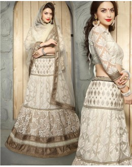 Festival Wear Off White Net Lehenga Choli - 19513