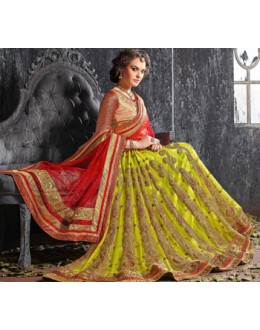 Wedding Wear Green Designer Lehenga Choli - 19528