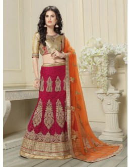 Wedding Wear Deep Pink Net Lehenga Choli - 19540