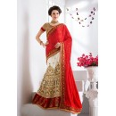 Festival Wear Red & White Lehenga Saree - 19543