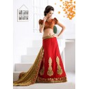 Ethnic Wear Red Georgette Lehenga Saree - 19548