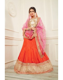 Traditional Orange Silk Lehenga Choli - 19697