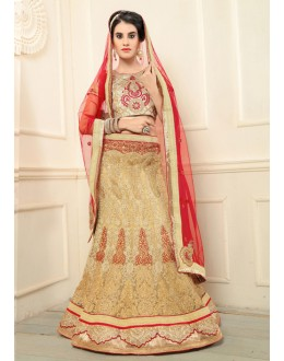 Wedding Wear Beige Net Lehenga Choli - 19698
