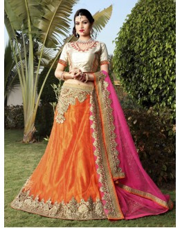 Wedding Wear Orange Net Lehenga Choli - 19748