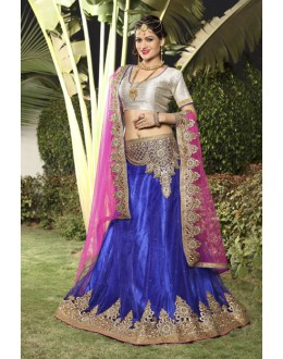 Designer Blue Net Embroidery Lehenga Choli - 19750